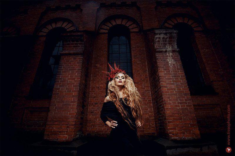 Портрет, девушка, украшения, корона, красота, лицо, цветы, розы, стены ***photo preview