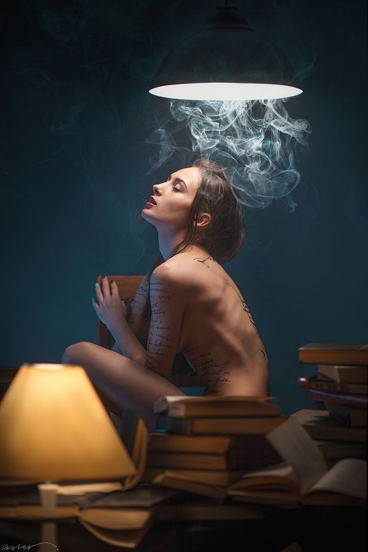 nude, beauty, beautiful, girl, body, caligraphy, library, books, book, lamp, smoke, lights ***photo preview