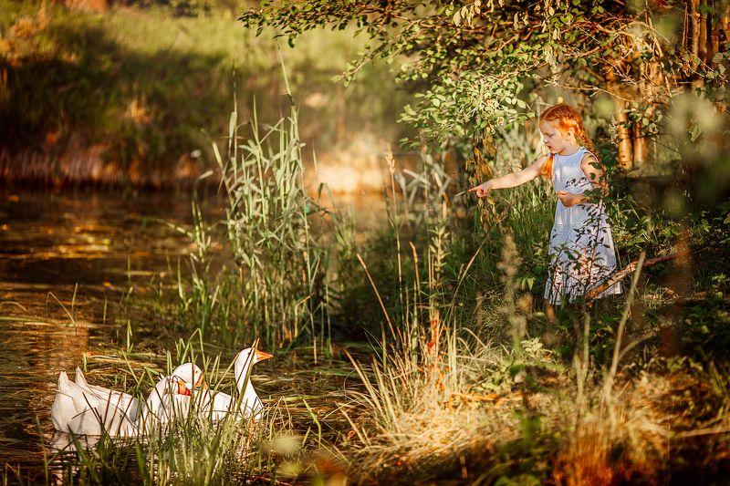 рыжая, девочка, деревня Сказкаphoto preview