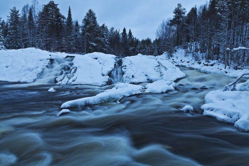 Колвица, водопад, зима прогулки по Колвицеphoto preview