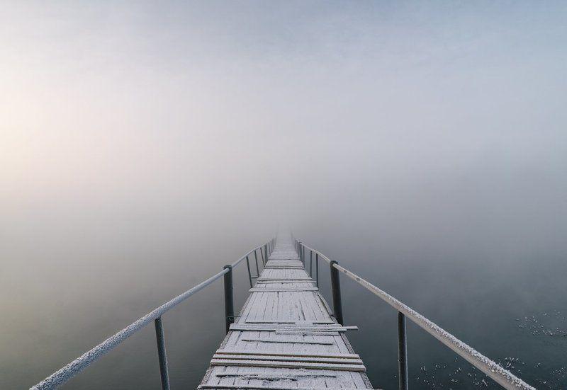 Зима, Минимализм, Мороз, Россия, Снег, Туман Первый день весныphoto preview