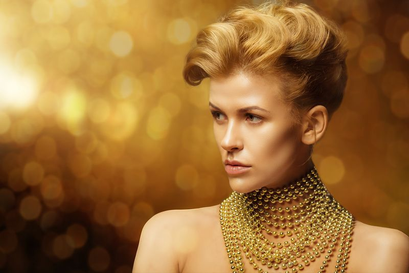 Dior, Боке, Бусы, Желтый цвет, Портрет девушки, Студийный портрет ***photo preview