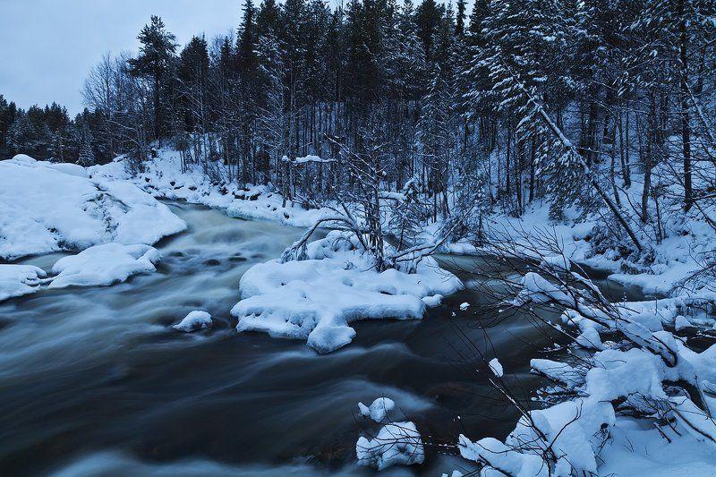 Колвица, Кольский, зима, водопад Колвица.photo preview