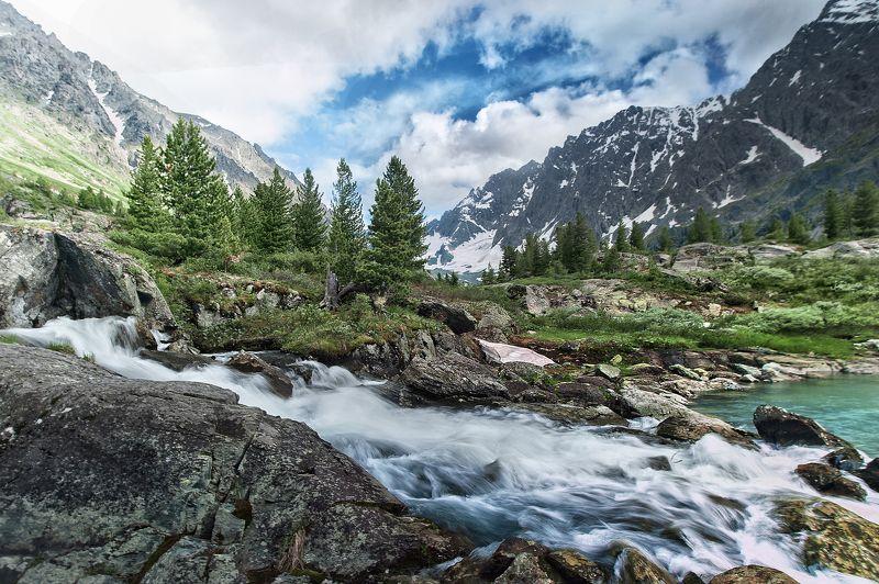 озеро, горы, вода, лес, зелень, голубая вода, голубое небо, горный, алтайский край, красота, вода, небо, природа Озеро photo preview
