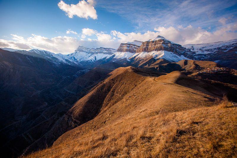кавказ Богосский хребет на закате  фото превью