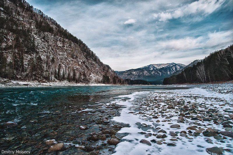горы, вода, лес, зелень, голубая вода, голубое небо, горный, алтайский край, красота, вода, небо, природа, снег, зима *******photo preview