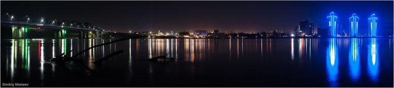 город, ночной город, огни, ночь, вода, фонари, отражение, мост, речной, Барнаул. красота  Барнаулphoto preview