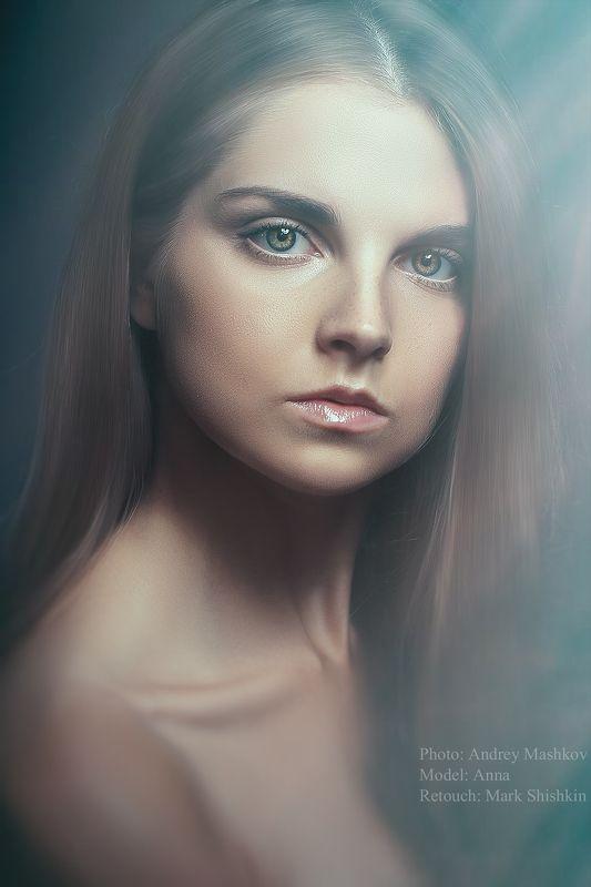 портрет, красота, глаза, лицо, девушка, волосы, студия Аннаphoto preview