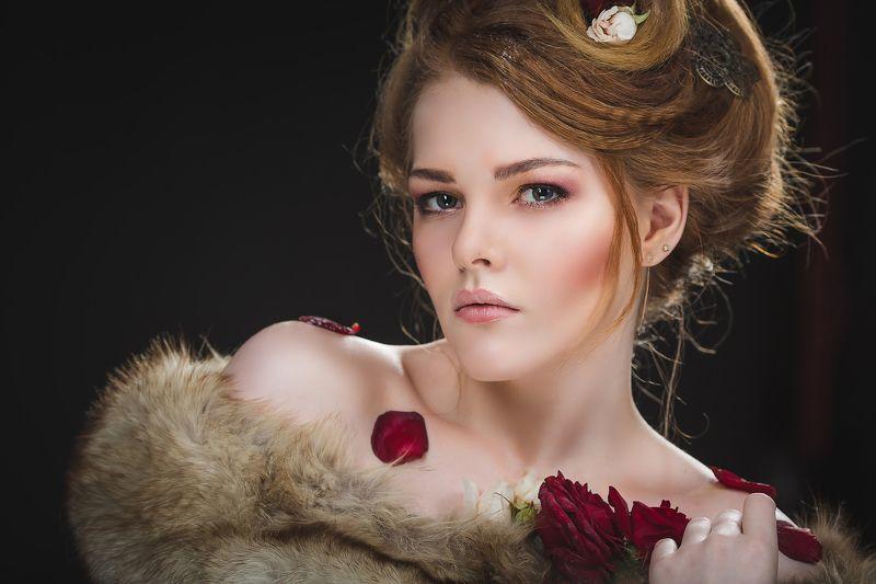 девушка в цветах, портрет девушки, мех, нежность Девушка в мехахphoto preview