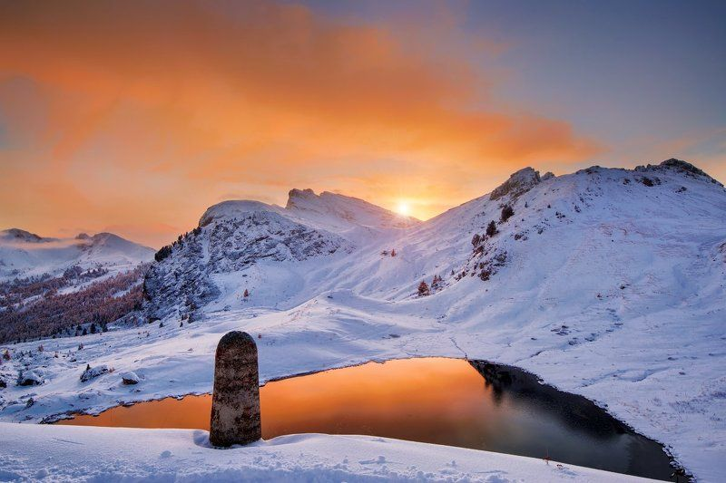 Italy, Dolomites, Alps, autumn, sunset, autumn colors, first snow, snow, rocks, Südtirol, lake, beautiful place, travel, clouds, Valparolla Dolomitesphoto preview