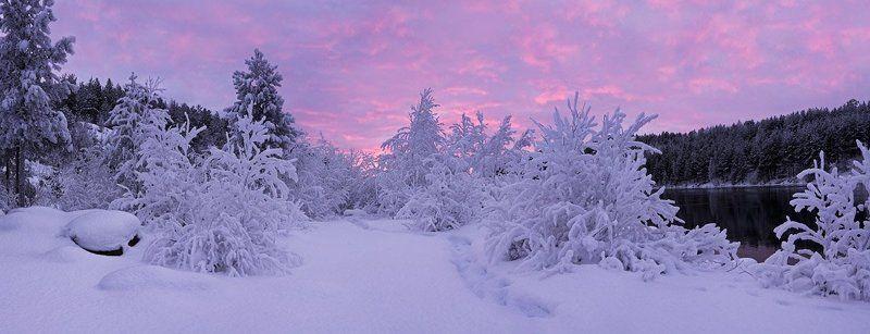 север, закат, снег С\