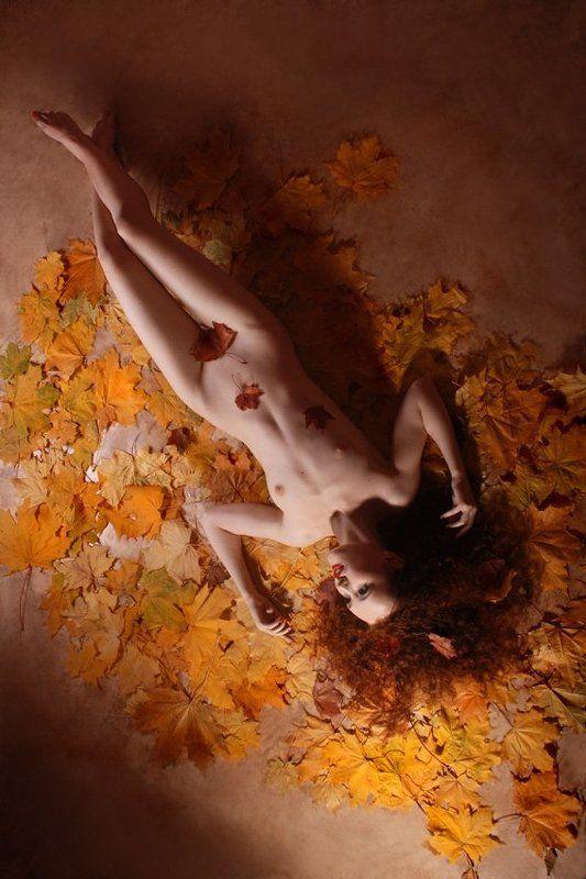 осень, девушка, пластмасса, студия, листья \