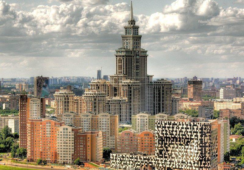 крыша, крыши, город, москва, день, триумф-палас, небоскрёбы Победа-Дворецphoto preview