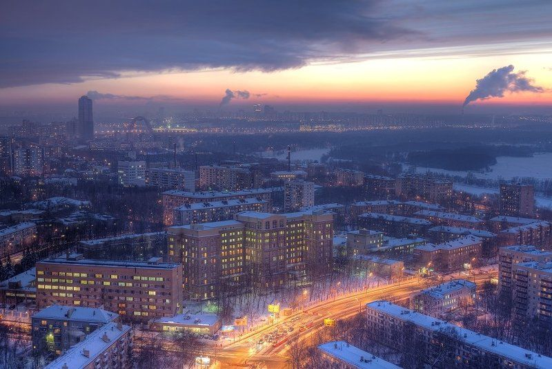крыша, крыши, город, москва, закат, вечер, мороз, зима Закат в морозной Москвеphoto preview