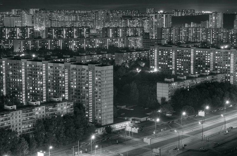 крыша, крыши, город, москва, ночь, тропарёво Ночь в спальном районеphoto preview