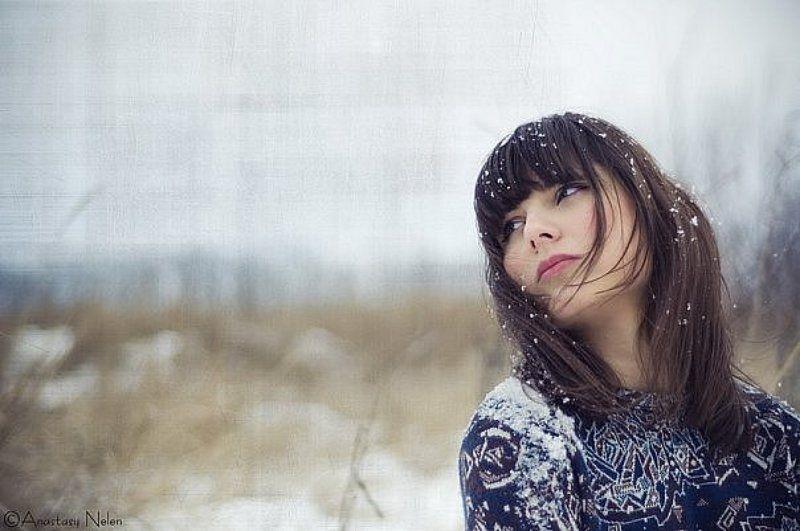 одиночество, снег,девушка, грузинка, взгляд ***photo preview