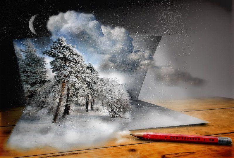 зима, карандаш, коллаж, луна, облака, открытка, природа, снег февральские открыткиphoto preview