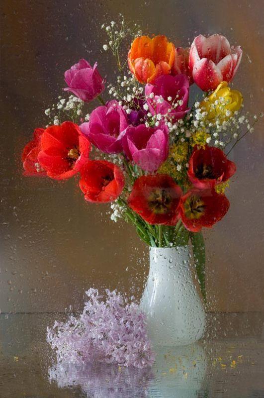цветы, весна, букет, сирень, тюльпаны, вода Весеннее настроениеphoto preview
