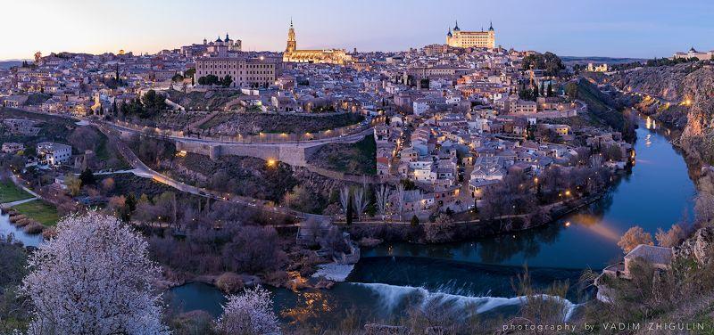 Cityscape, Dusk, Panorama, Spain, Spring, Sunset, Toledo Весенний вечер в Толедоphoto preview