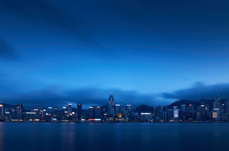 Гонконг, Китай, город, вода, здания, Hon Kong, China, путешествия, небо,  Blue hour of Hong Kongphoto preview