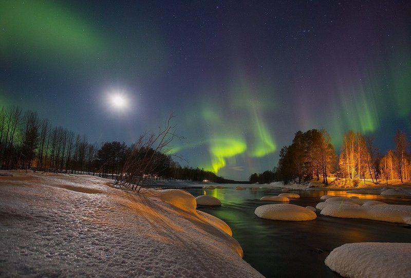 Aurora borealis, Вода, Небо, Ночной пейзаж, Ночь, Отражение, Полярное сияние, Швеция ***photo preview