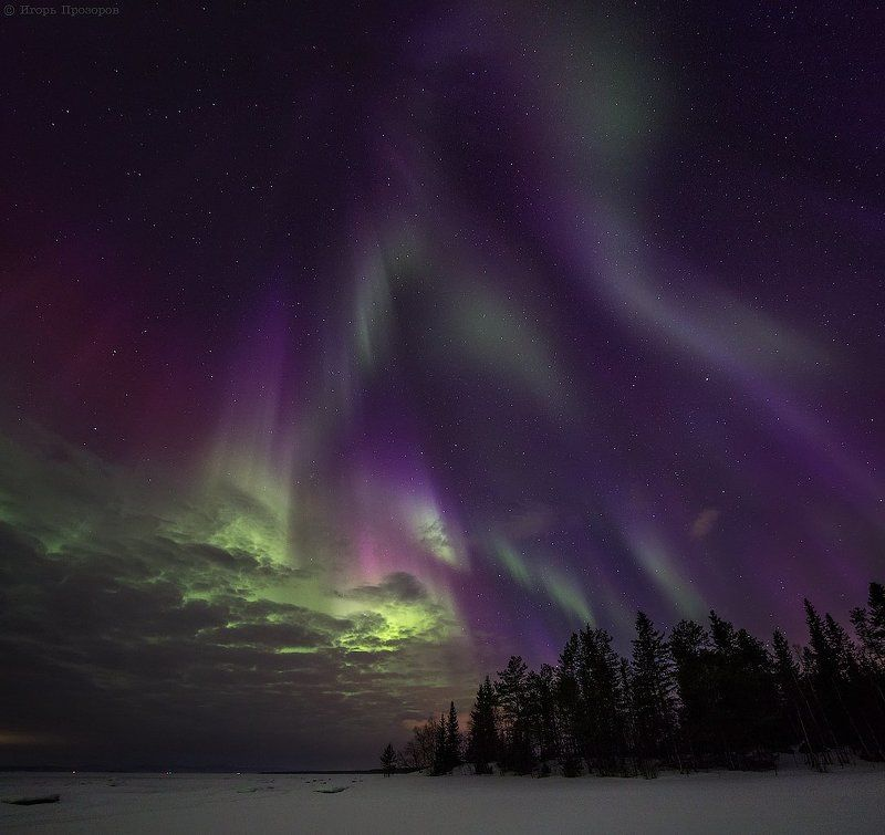 полярное сияние, северное сияние, кольский полуостров, ночное фото Апрельским ясным вечеркомphoto preview