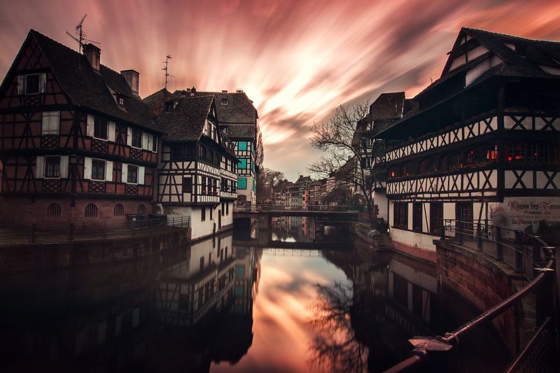 sky sunrise city spring street water river travel sun clouds europe rain urban architecture cityscape bridge building france storm strasbourg alsace petite france Bas-Rhin The Color of Silencephoto preview