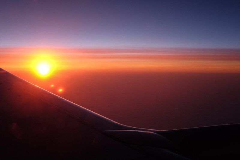 Крыло, Небо, Полет, Рассвет sunrise on flightphoto preview