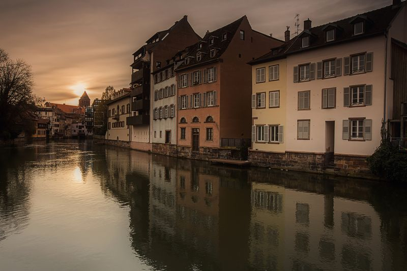 sky sunrise city spring street water river travel sun clouds europe rain urban architecture cityscape bridge building france storm strasbourg alsace petite france Bas-Rhin Silent Morningphoto preview