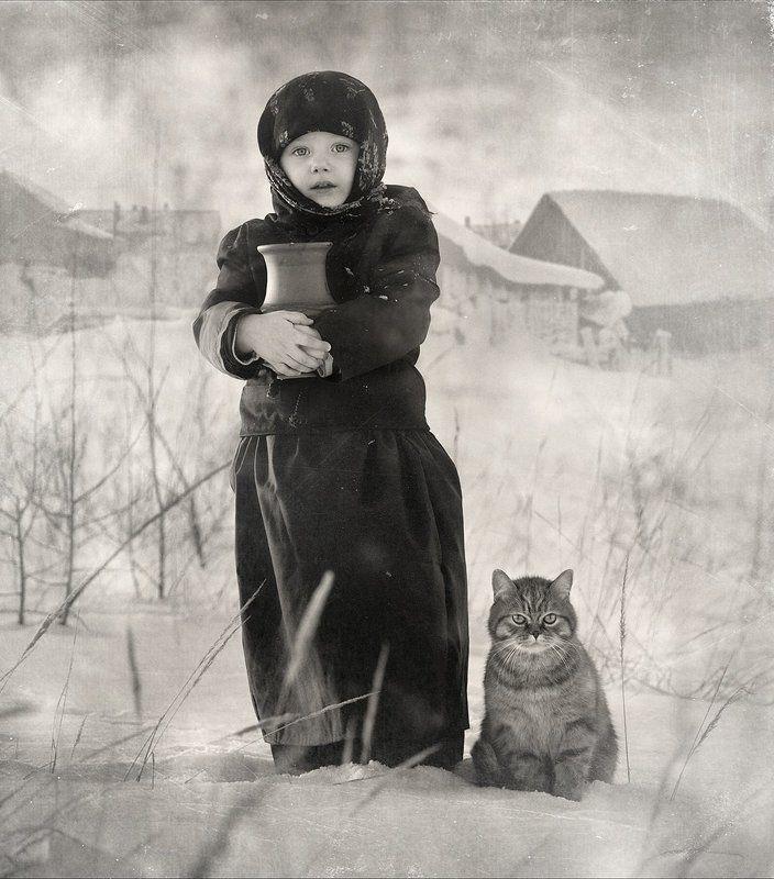 Девочка, Деревня, Зима, Кот, Кувшин ***photo preview