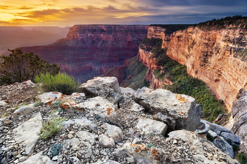 сша, северная америка, аризона, большой каньон, гранд каньон, рассвет, утро, природа, пейзаж, свет, небо, лучи, солнце, путешествие Обзорная точка Пима.photo preview