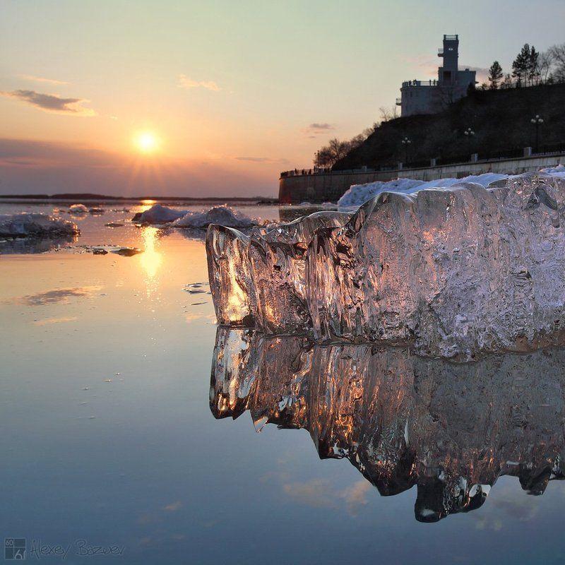 амур, лед, ледоход, закат, утес виски со льдом по Амурскиphoto preview