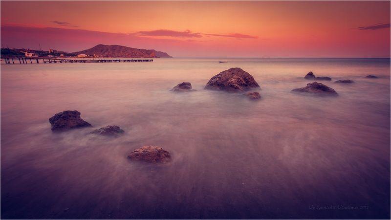 2012, Black sea, Закат, Камни, Крым, Море, Мостик, Судак, Черное море black seaphoto preview