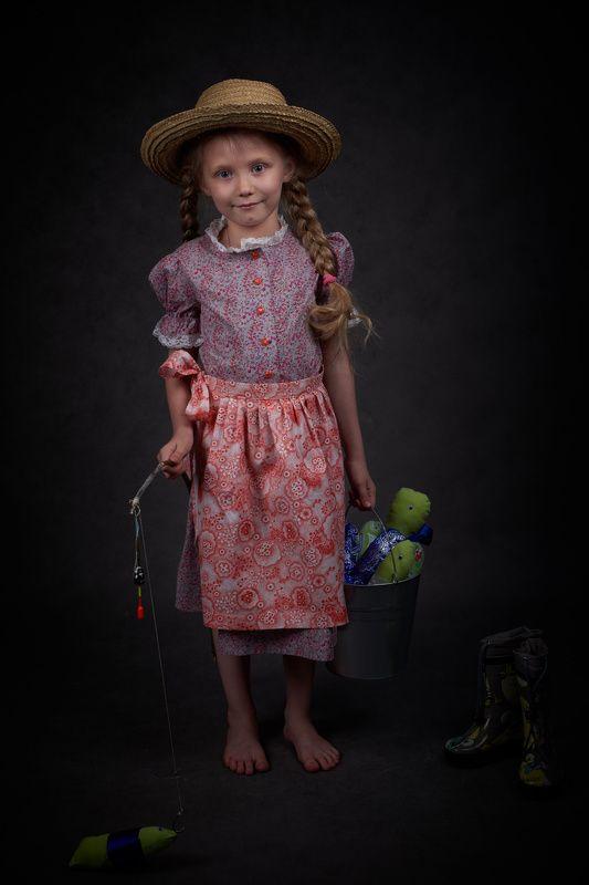 девочка, портрет, удочка дочь рыбакаphoto preview