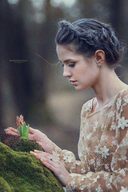 девушка, модель, лес, весна, цветок, нежность, природа Пробуждениеphoto preview