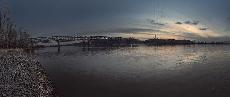 мост, обь, Барнаул, природа, закат, жд,небо, вода photo preview