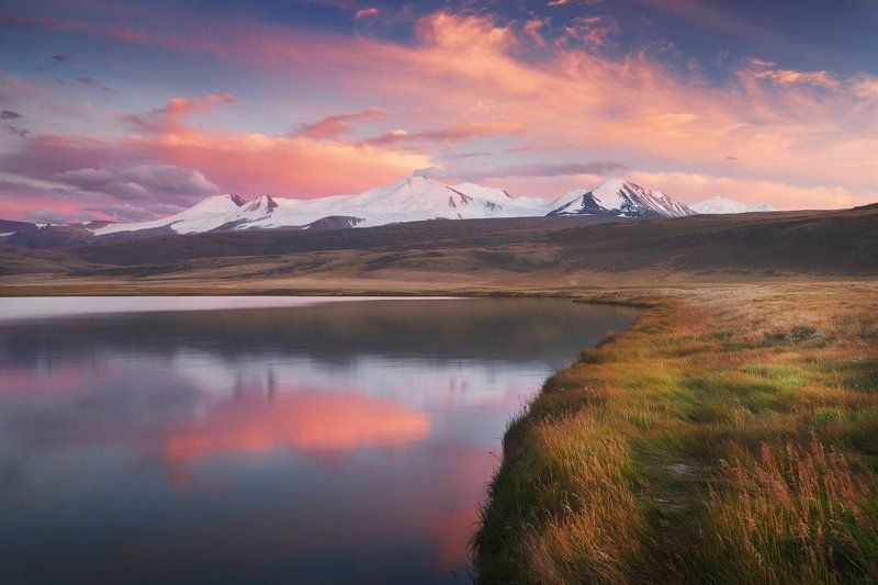 Алтай, Горы, Закат, Озеро, Пейзаж, Укок Закат на Гусином озереphoto preview