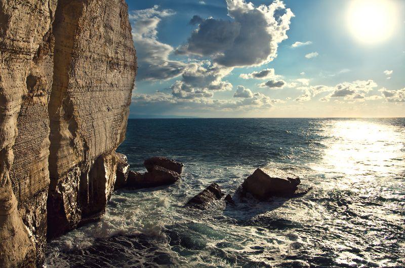пейзаж, море, солнце Мыс Рош-а-Никра, Израильphoto preview