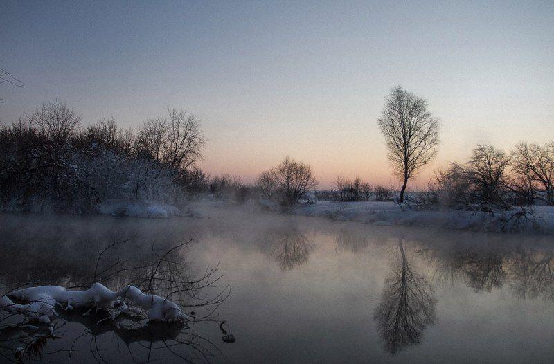 река, закат, зима, природа.  река Миассphoto preview