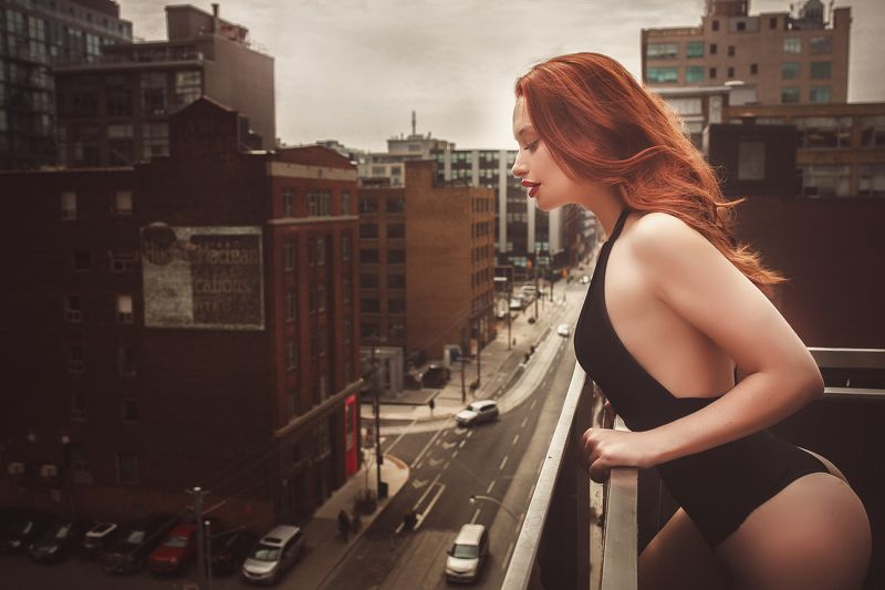 boudoir, girl, city. red, ***photo preview