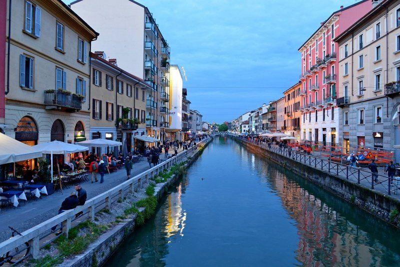 Милан, канал, Италия, ночь Прогулка по ночным каналам Миланаphoto preview
