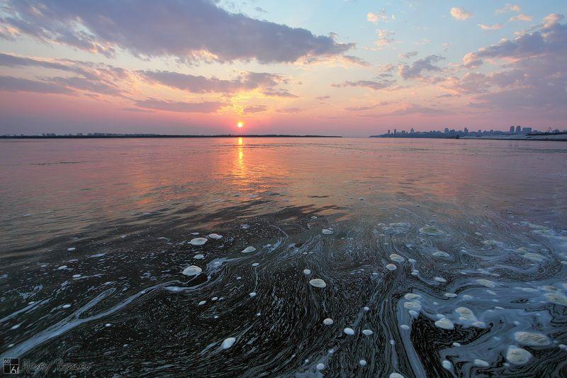 Хабаровск, Амур, закат, весна Перламутровый Амурphoto preview