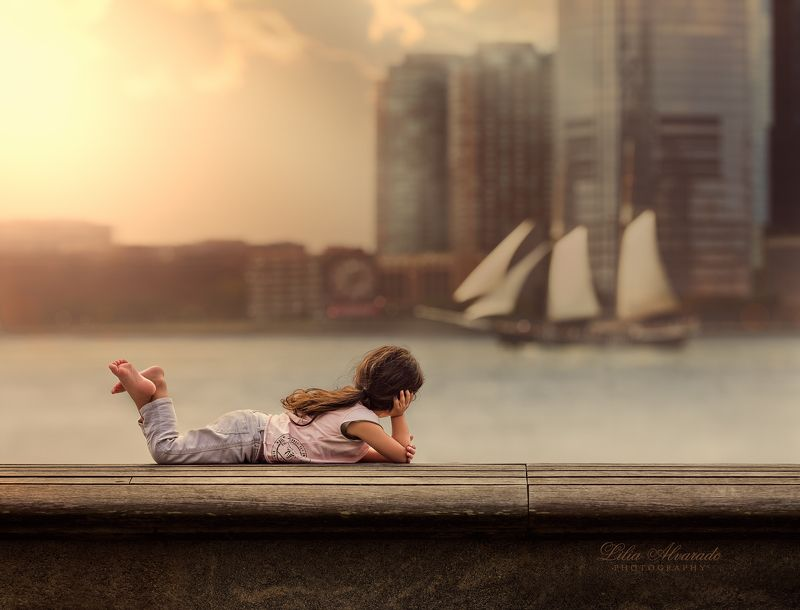city,newyork,child,bench,sun,evening,broad walk, Eternity In Every Moment...photo preview