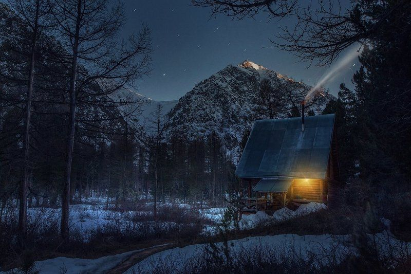best, house, landscape, mountains, photo, smoke, stars * * *photo preview