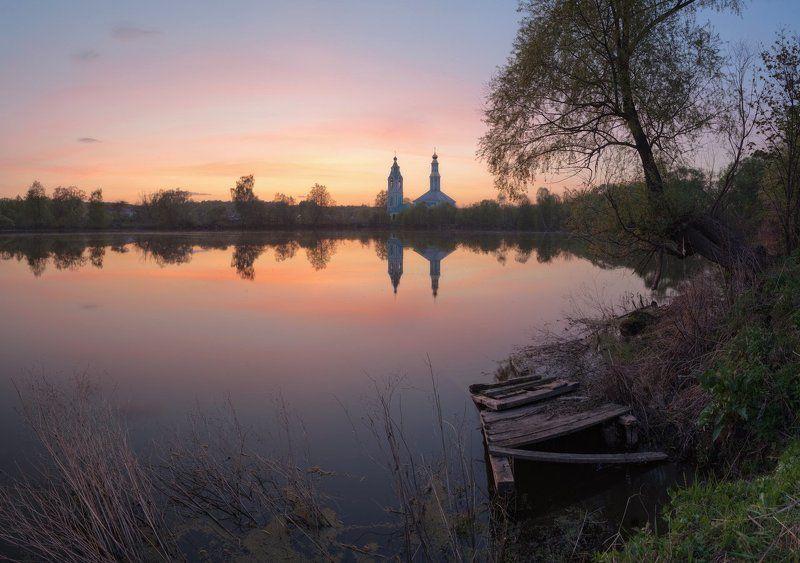 Landscape, Весна, Вода, Закат, Пейзаж, Природа, Россия, Тишина, Церковь У старого мосткаphoto preview