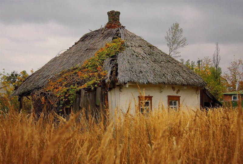 украина, хата, солома, осень, мазанка Украиїнська хатаphoto preview