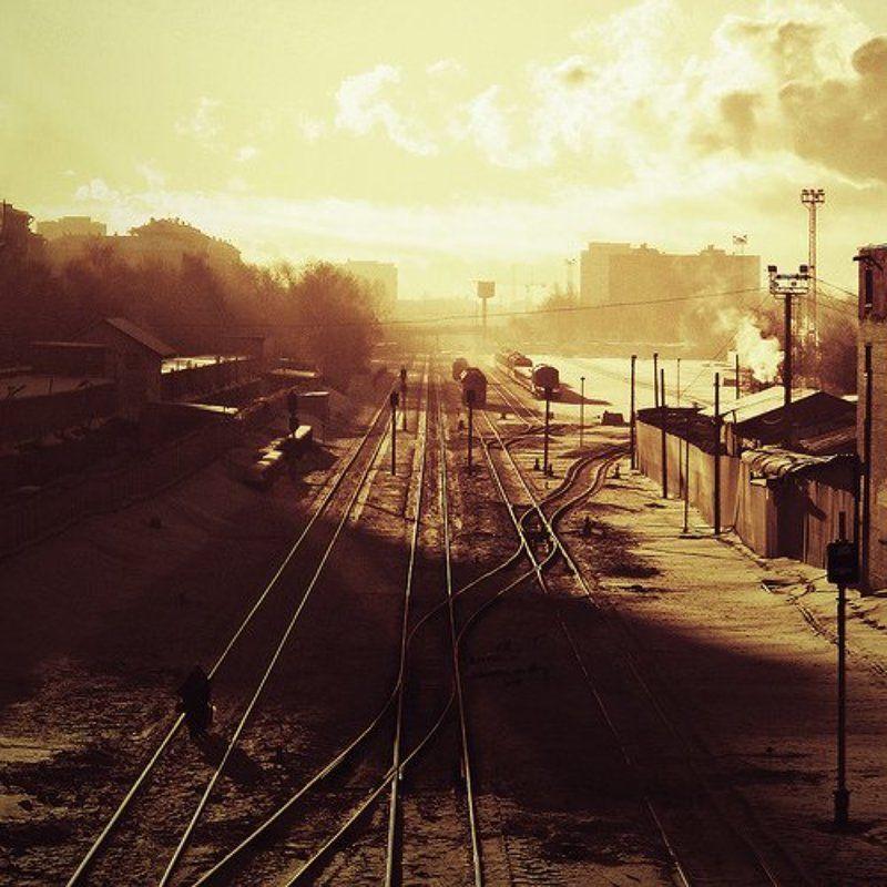 рельсы, поезд, зима, день, москва, россия Зимний пейзажphoto preview