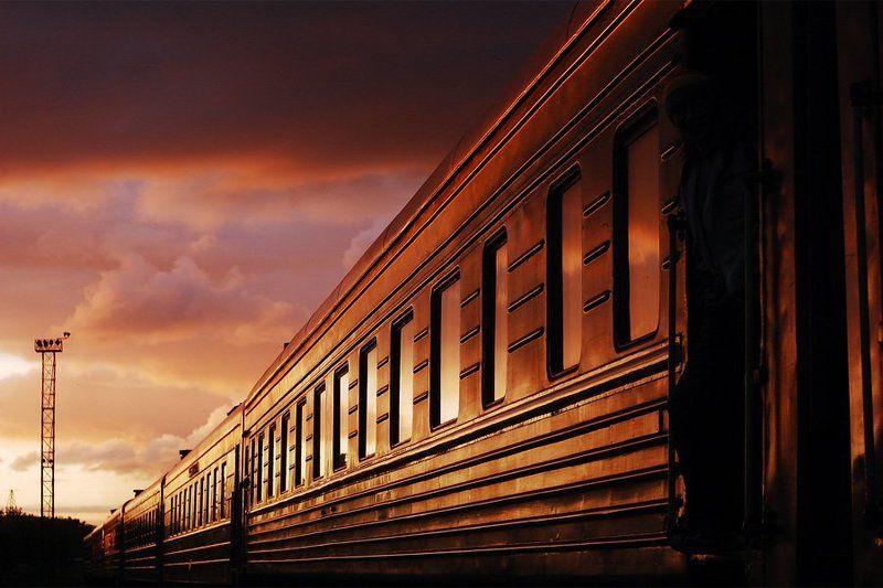 лето, поезд, вокзал, закат, гелиос летний поездphoto preview