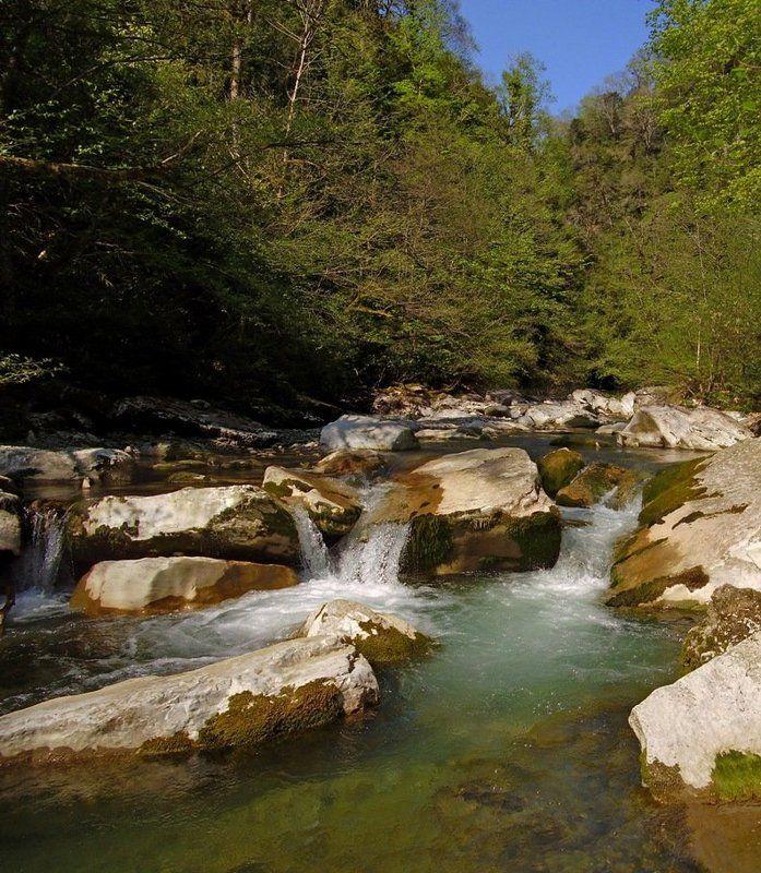 весна, панорама, река, вода, лес, сочи Весна. Каньон Белые скалыphoto preview