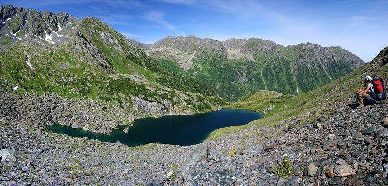 пейзаж, озеро, горы, западные саяны Панорама озера \